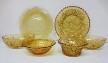 Amber depression glass, fruit décor
