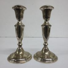 pair of Sterling Silver tall candlesticks, Empire
