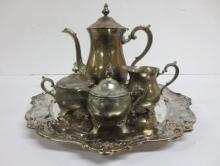 Gorham plated silver tea set with tray
