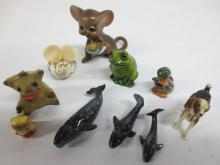 Group of miniture animals incl. three (3) whales