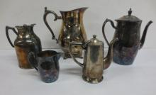 Five(5) Silverplate pitchers and pots