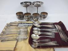 Silverplate goblets and SP flatware sets
