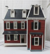 Doll house with collection of dollhouse furniture