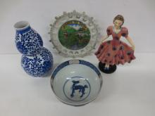 Imari bowl, German figurine, blue/white vase and Japanese plate