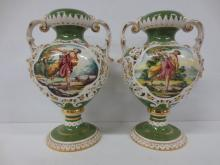 Pair hand painted classical double handle urns