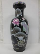 large Chinese black floral vase