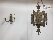 Chandelier  and  double arm wall sconce