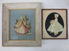 Two 1950s framed art / Vict.dressed girls