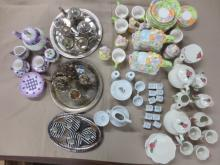 several doll sized tea sets incl American Girl