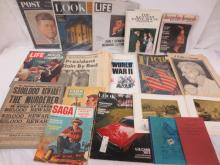 Magazines and other papers: LOOK, Post, Life, JFK