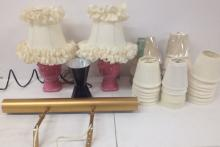 Pr. Pink pottery Boudoir and other lamps and shades