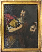 School of Caravaggio  Oil on canvas, David slaying Goliath