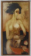 Anjolie Ela Menon (b.1940)  Oil on board, Female Nude, signed