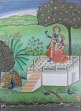 Indian Miniature Painting #1, Opaque watercolors on paper, article on back