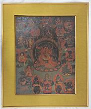 Antique Asian Oil paint on silk laid down on board, gilt framed, Thangka