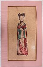 Chinese framed silkscreen on fabric, young woman