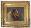 Antique Oil on canvas depicting Dog (Collie) signed JM Rogers, in hand made/hewn gilt  frame