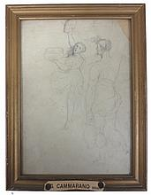 Pencil Figure Study attributed to G. Cammarano