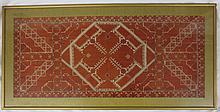 Framed under glass Indian Geometric Woven Tapestry / Remnant