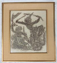 Temple Rubbing - Asian Warriors on Horse and Chariot, framed