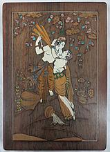 Inlaid painted ivory/bone with precious metal Wood Panel of Two Lovers Embracing