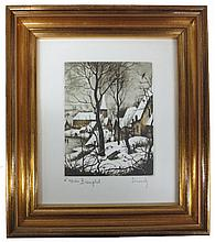 Hebbelinck, Roger (Belgian, 1912-), Hand painted engraving of winter scene d'apres Breughel (#706), pencil signed lower right