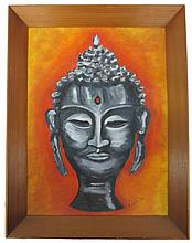 Acrylic on board depicting Buddha, signed lower right, Robbie '62
