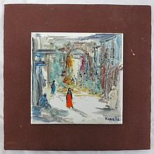 Three (3) Hand painted tile signed Keralla, Market Scene, Beach Scene and Boats at Sea