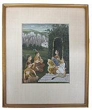 Indian Miniature Painting #2, Opaque watercolors on paper, article on back