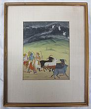 Indian Miniature Painting #3, Opaque watercolors on paper, article on back