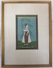 Indian Miniature Painting #4, Opaque watercolors on paper, article on back