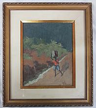Oil on board, signed lower right A. Flavoni 1969 and Titled: Menino e a Lata