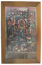 Hand painted on Silk Indian Ceremony, laid down oil paint on silk, Thangka