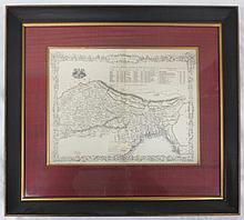 J Rapkin engraved and framed Map of Northern India