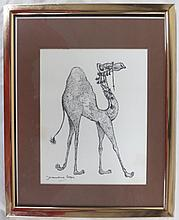 Jacqueline Cooper -Ink on paper depicting Camel, signed lower left with Signed Holiday Cards on Back