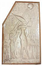 Plaster Fragment, Akhenaten and Nefertiti pray under the rays of the sun, offering libations to the God Aten.