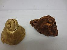 Two doll wigs with 1940s hair style, Madame Alexander Cissy or Elise type style