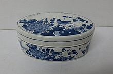 Blue and White Delft oval covered box