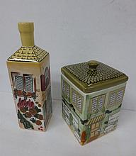 Square ceramic Cannister and bottle decoarated house