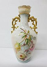 Hand painted and signed A. A. Early floral with gilt double handle vase