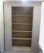 Huge Antique white painted cupboard pantry with pale yellow interior