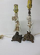 Two cherub Putti boudoir lamps