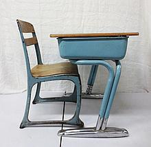 Vintage school desk with chair, blue