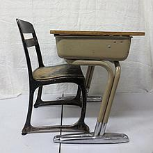Vintage school desk with chair, black