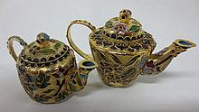 Two Chinese cloisonne miniature teapots
