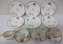antique floral decorated dessert dishes, partial set