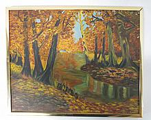 Fall Scene oil on canvas Signed  MJ O'Connor