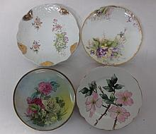 French Limoges and German Altwasser hand painted porcelain plates
