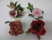 Rose sculptures, two Capodimonte