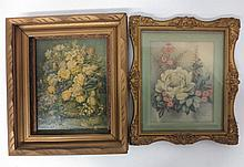 Two gilt framed floral still life prints